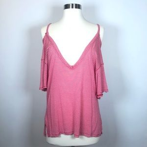 Free People Size M Pink Stripe Cold Shoulder Tee